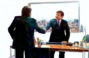 client meeting shaking hands